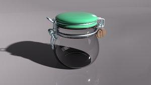 3D small glass mason jar model