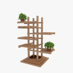 3D model wooden pedestal plant stand