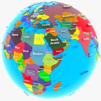 3D model geopolitical earth globe world