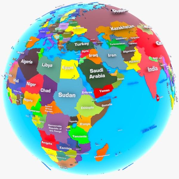 3D model geopolitical earth globe world