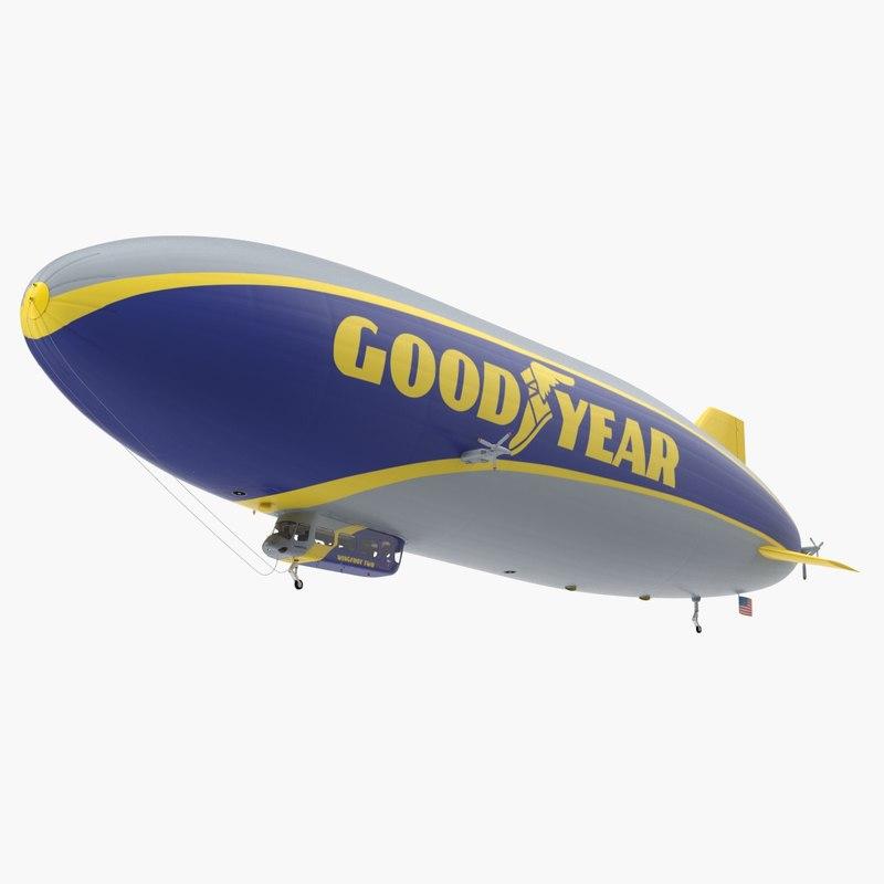3D model blimp goodyear airship