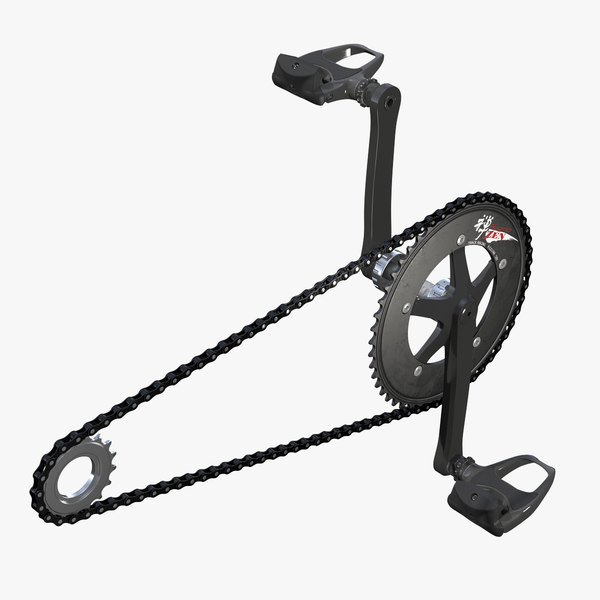 3D bicycle chain pedals rigged