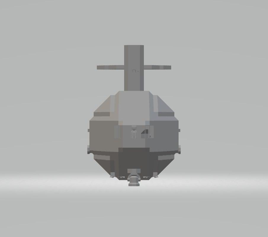 3D model submersible submarine