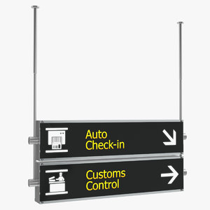 airport signs customs control model