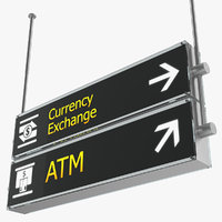 airport signs currency exchange 3D model