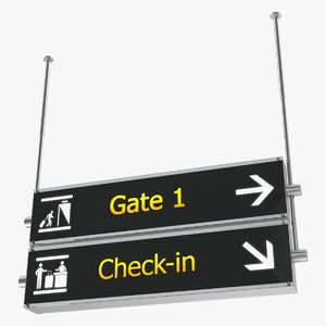 3D airport signs gate check