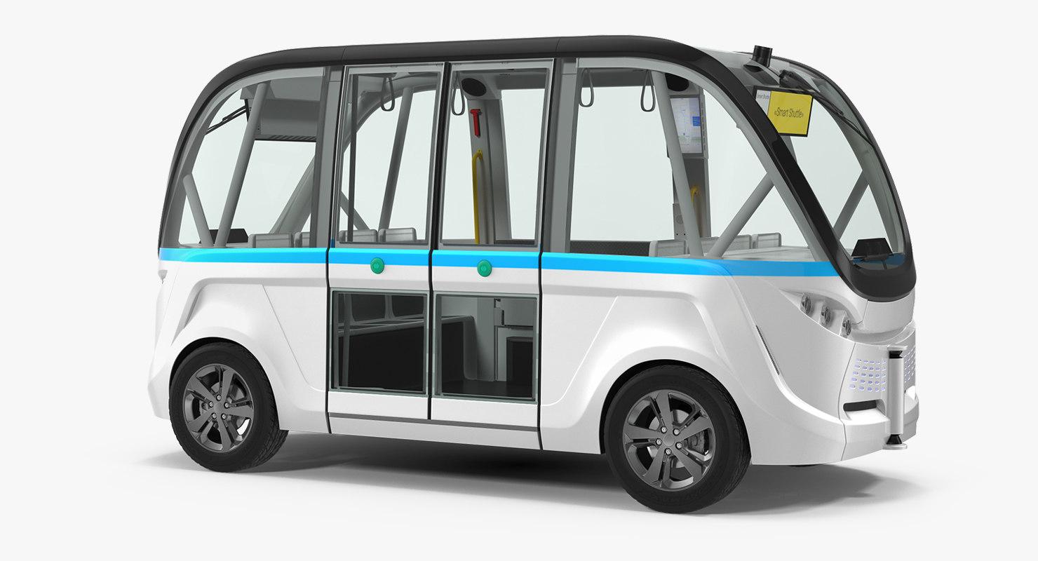 electric driverless bus generic 3D model