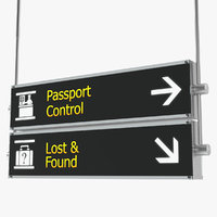 airport signs passport control model