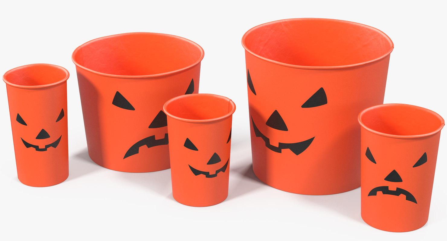 halloween cups popcorn 3D model