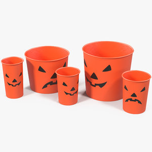 halloween cups popcorn 3D model