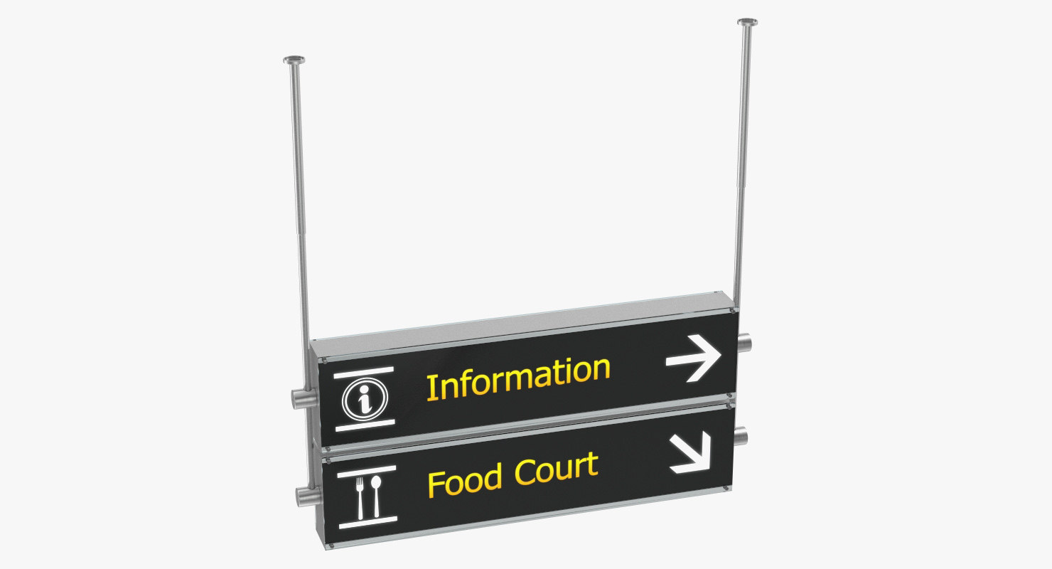 3D airport signs information food
