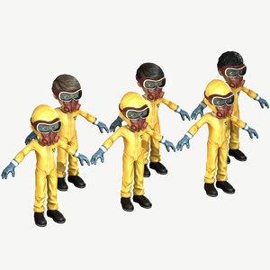 3D child boy hazmat suit