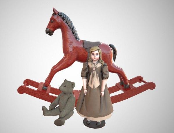 3D model doll bear pbr
