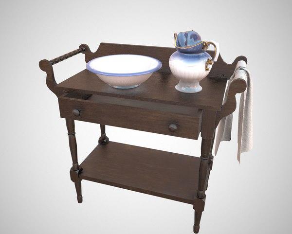 washbasin jug bowl 3D model