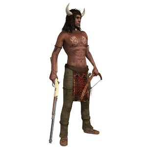 3D rigged native american man model