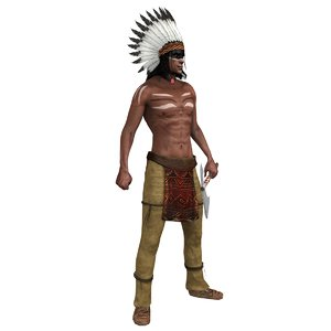 rigged native american chief 3D