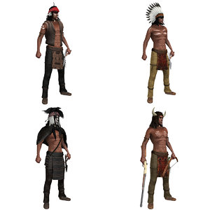 3D native american rigged pack model