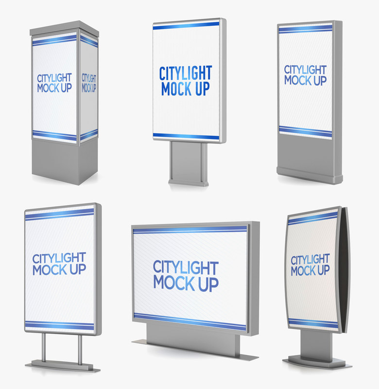 3D citylight banner advertising model