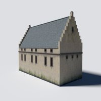 3D modular castle main hall model