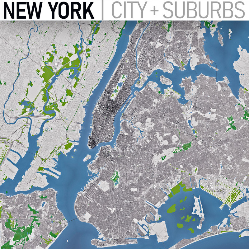 Map Of New York 3d.New York Full City And Suburbs Collection