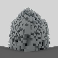 Abstract fragmented cube