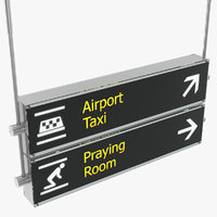 3D airport signs taxi praying
