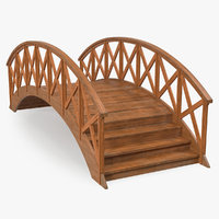 3D arc wooden footbridge model