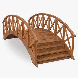 3D arc wooden footbridge model