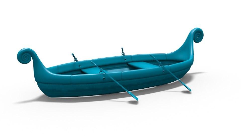 swan head shaped boat 3D model