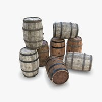 3D old wooden barrels wood
