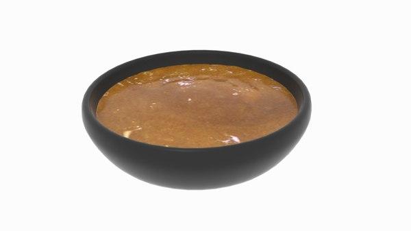 3D bowl creme soup model