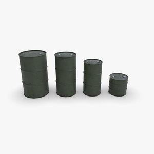 metallic barrels army 3D