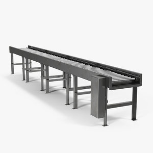 3D horizontal roller conveyor belt model