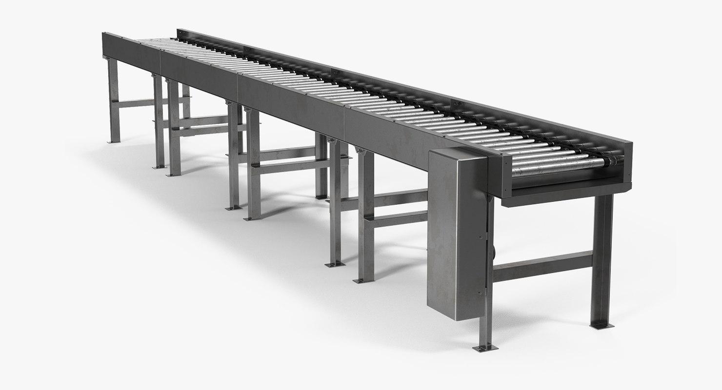3D horizontal roller conveyor belt model