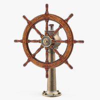 3D large vintage ship wheel