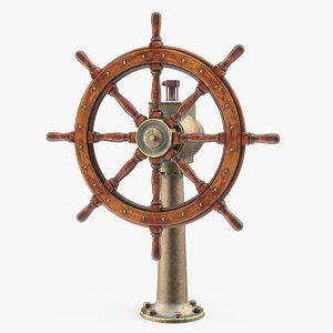 3D large vintage ship wheel