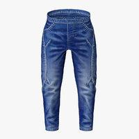 modern blue jeans 3D