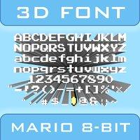 3D font mario 8-bit