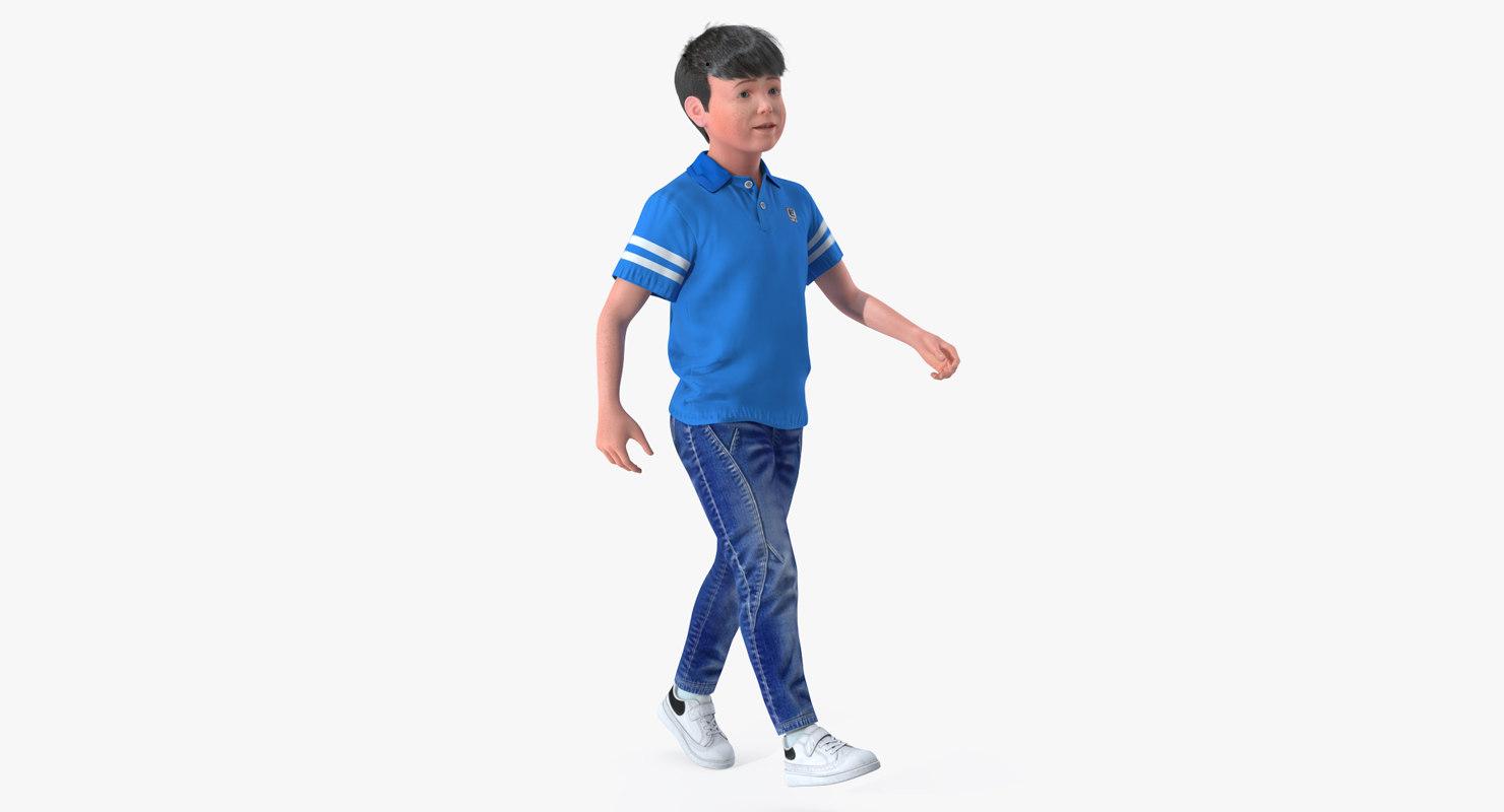 modern boy walking pose 3D model