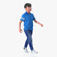 Modern Boy Walking Pose with Fur 3D Model