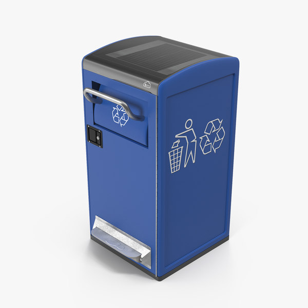 3D modern solar recycling bin model