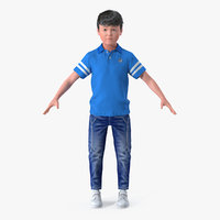 Boy 7-10 Years Old with Fur 3D Model