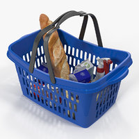 Shopping Plastic Basket with Goods 3D Model