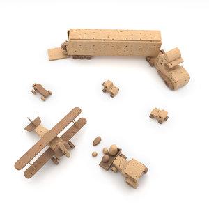 3D children toys wood model