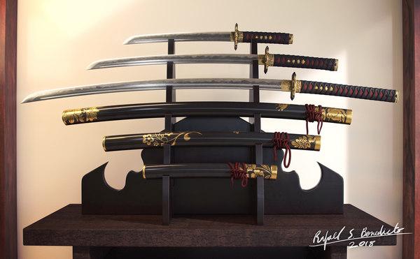 samurai weapons katana sword 3D model