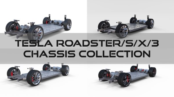3D model tesla chassis roadster 3