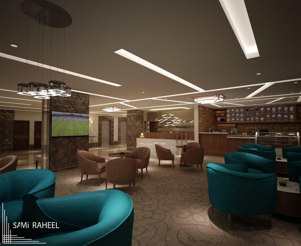 interior lobby hotel 3D model