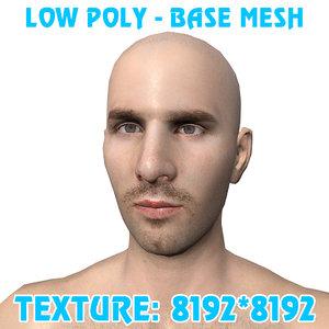 3D messi base mesh polys model