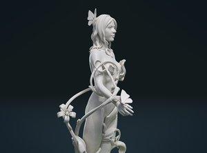 3D print ready driada sculpture