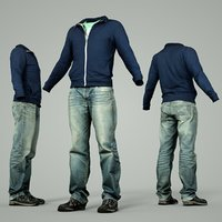 3D male clothing outfit 20 model